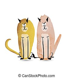 Funny cats. Watercolor sketch for your design