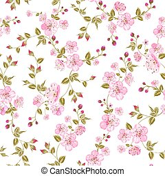 Spring flowers pattern over white background. Vector...