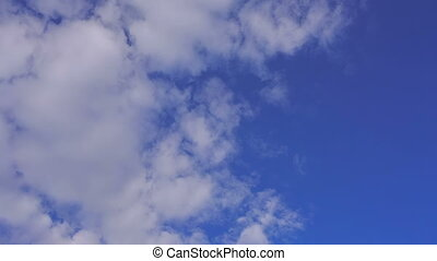 Aircraft flying in blue cloudy sky,  closeup view