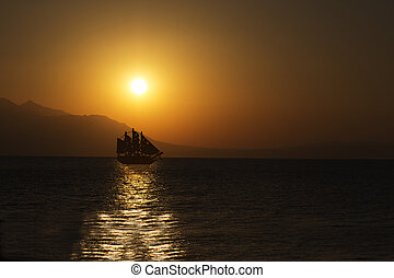 Sailing Ship - Schooner Silhouette at Beautiful Sunrise...
