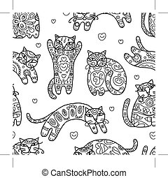 Art cats with floral ornament, seamless pattern for your...