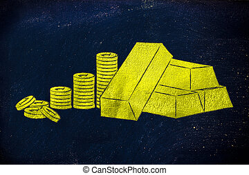 gold brick and coins, how to make good investments - concept...