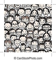 Seamless pattern with people crowd for your design, vector...