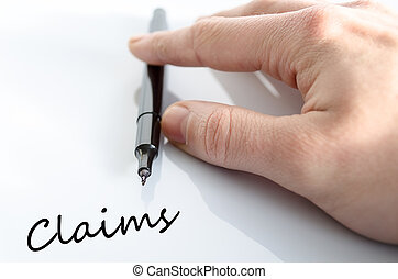 Claims Concept - Pen in the hand isolated over white...