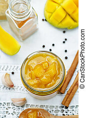 mango chutney on a white background. the toning. selective...