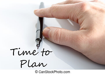 Time to plan concept - Pen in the hand isolated over white...