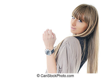 woman fashion portrait - young beautiful woman fashion...