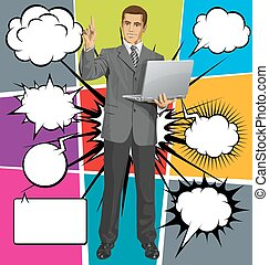 Vector Business Man Shows Something With Finger And Bubble...