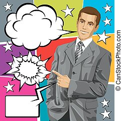 Vector Business Man Show Something With Finger And Big Set...