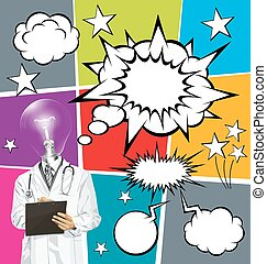 Vector Doctor Man With Clipboardr And Bubble Speech - Vector...