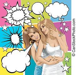 Vector Women Gay Couple With Set Of Speech Bubble - Vector...