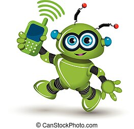 Robot with telephone - Illustration cheerful green robot and...