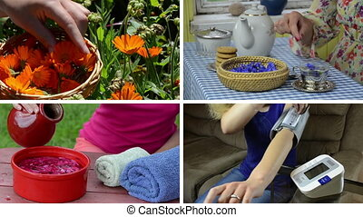 woman health care collage - Herbalist pick marigold flower...