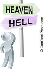 Heaven or hell decision - A person with a decision to make...
