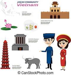 cartoon infographic of vietnam asean community. -...