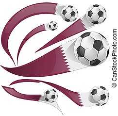 qatar flag set with soccer ball isolated