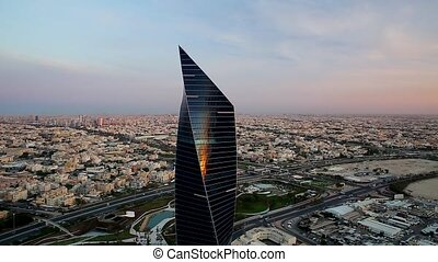 Aerial view of Tower in Kuwait - Aerial movement of Al...