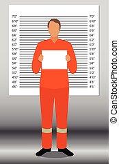 Prisoner in police lineup backdrop,