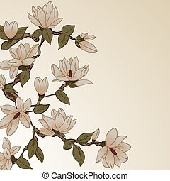 Floral background with magnolia - Vector background with...