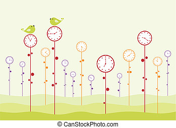 Clock garden. Birds are twitting, and time is passing.