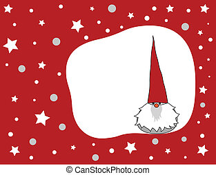 Christmas gnome - Cute winter gnome on a red Christmas...