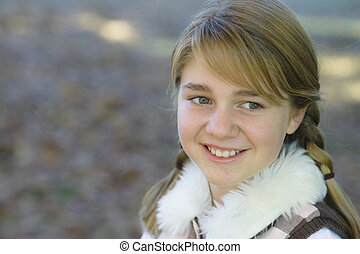 Tween Girl - Portrait of a Cute Tween Girl Outdoors