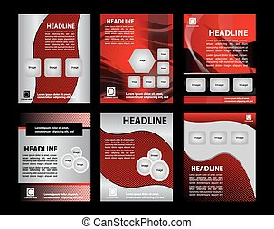 Abstract big set of brochure and flyer template, vector...