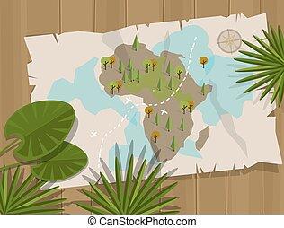 map jungle africa cartoon treasure hunter