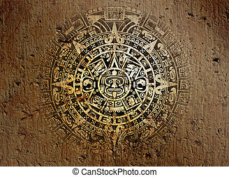 Aztec calendar - Background in American Indian Style with...