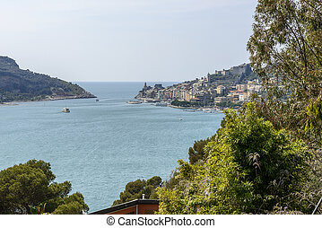view of sea village and castle, Portovenere - view of...