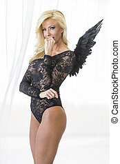 Blonde Lingerie Model with Wings