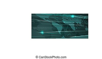Abstract World Map Technology Background with Binary Stream....
