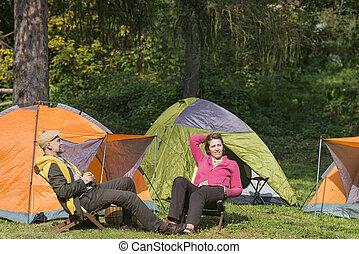 Senior couple at camping