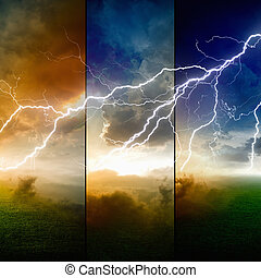 Stormy sky - Nature force background - powerful lightning in...