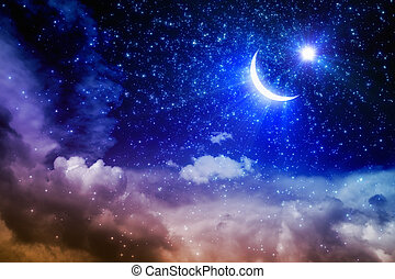 Ramadan Kareem background with shining moon and stars above...