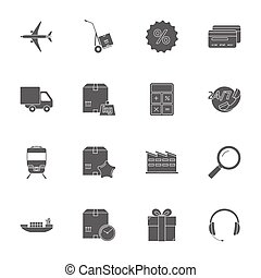 Logistics silhouettes icons set