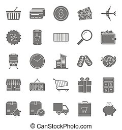 Sales and shopping silhouettes icons set