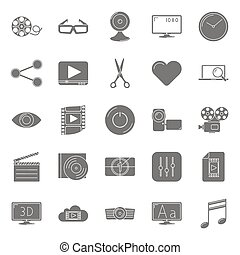 Video silhouettes icons set vector graphic illustration...