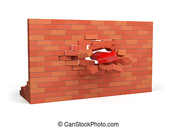 Breakthrough - Red arrow pierces the wall 3d image White...