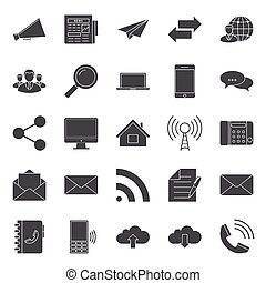 Comunication and web silhouettes icons set