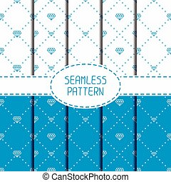 Set of blue hipster fashion geometric seamless pattern with...