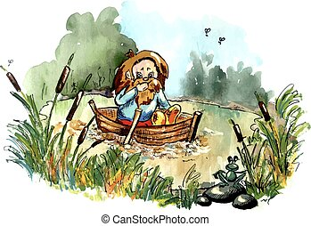 Hobbit on the boat - Folklore creature on the boat. Bright...