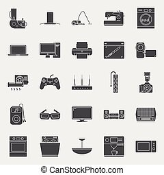 Home electrical appliances silhouettes icon set