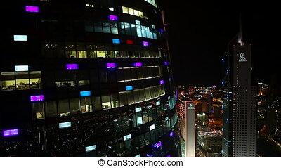 Skyscraper by Night Shot1 - Aerial shot of a Skyscraper in...