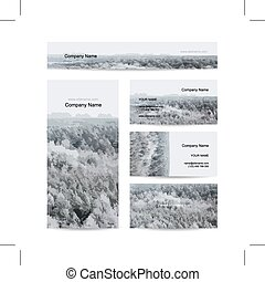 Business cards design, foggy winter forest background,...