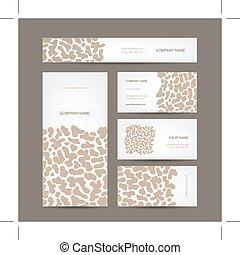 セット, ビジネス, カード, 動物, 印刷, デザイン