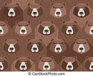 flock of bears. Seamless pattern of animals. Vector background