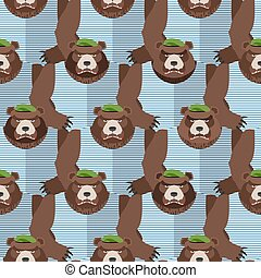 Russian soldiers bears in Green Berets. Seamless pattern of animals. Vector illustration