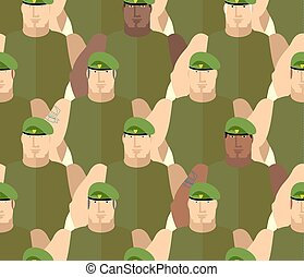 Soldiers in Green Berets. Special forces. Army seamless...