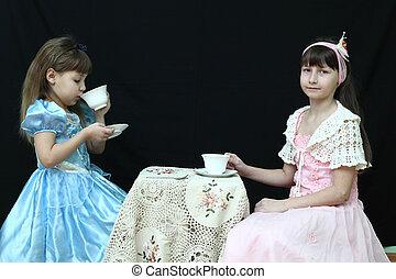 Tea Party - Little Girl Having a Fancy Tea Party